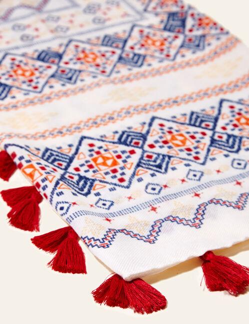foulard imprimé aztèque écru, orange, rouge, jaune et bleu