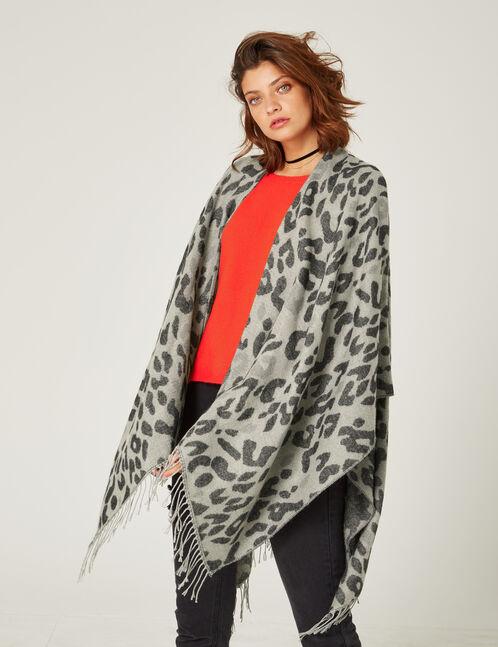 Grey leopard print cape