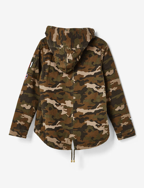 parka camouflage à patchs kaki