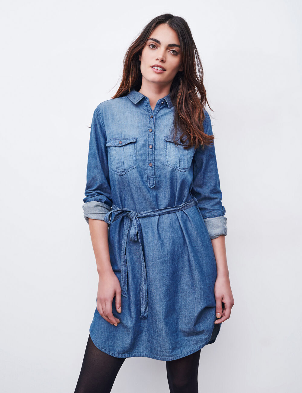 robe chemise en jean medium blue