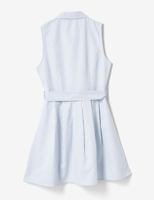 robe chemise rayée écrue et bleue