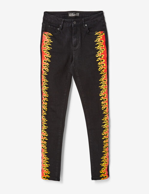 jean avec flammes noir