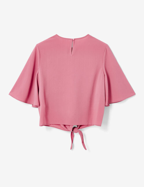 Pale pink tie-fastening blouse