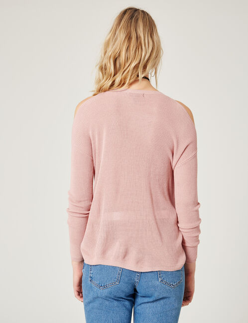 pull fin épaules ajourées rose clair