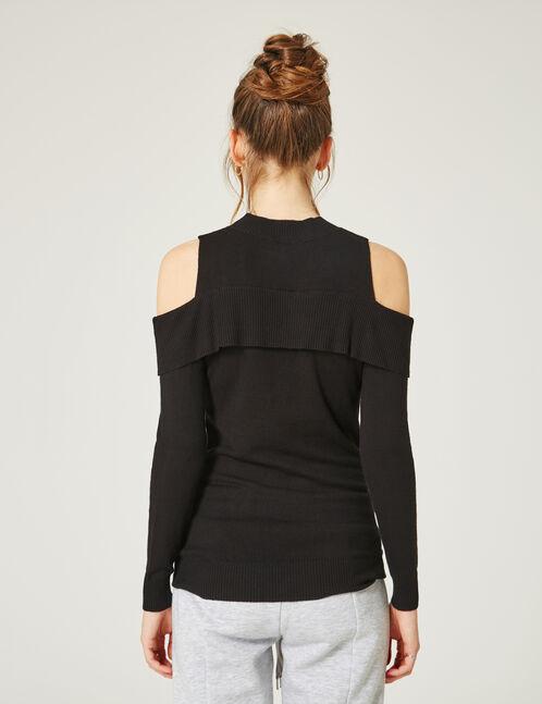 pull épaules ajourées noir