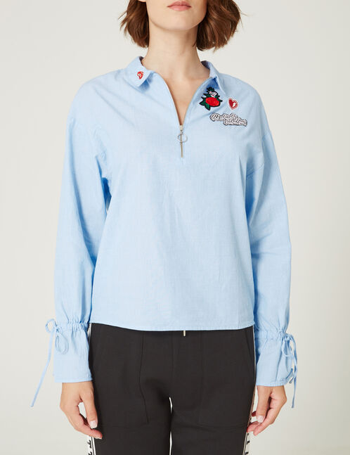 Light blue blouse with zip detail