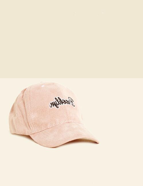 casquette suédine brooklyn rose clair