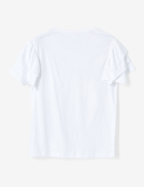 White T-shirt with frill detail