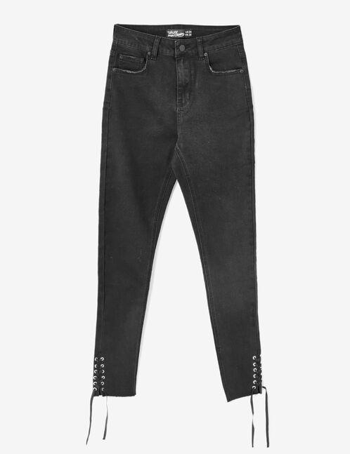 jean avec laçages noir