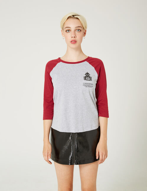 Grey and burgundy marl two-tone printed T-shirt