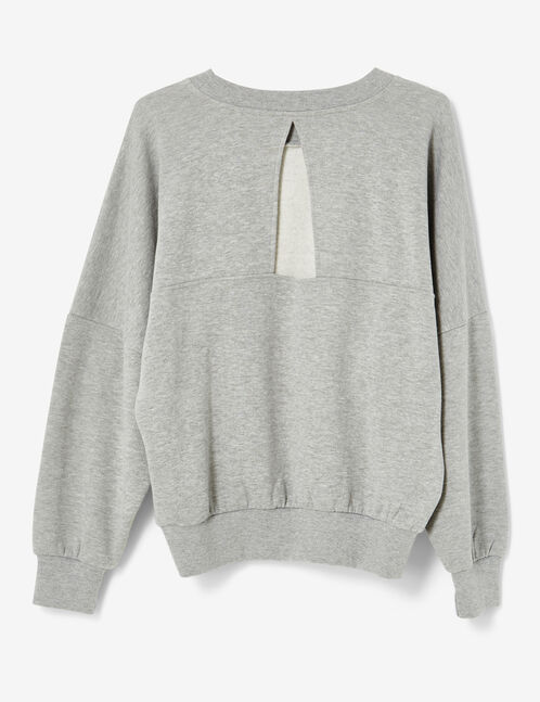 Grey marl sweatshirt with pearl detail