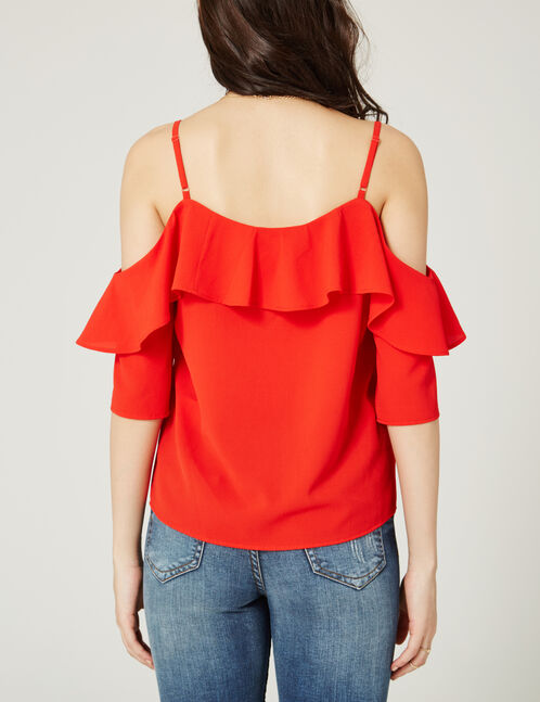 Red blouse with cut-out shoulders