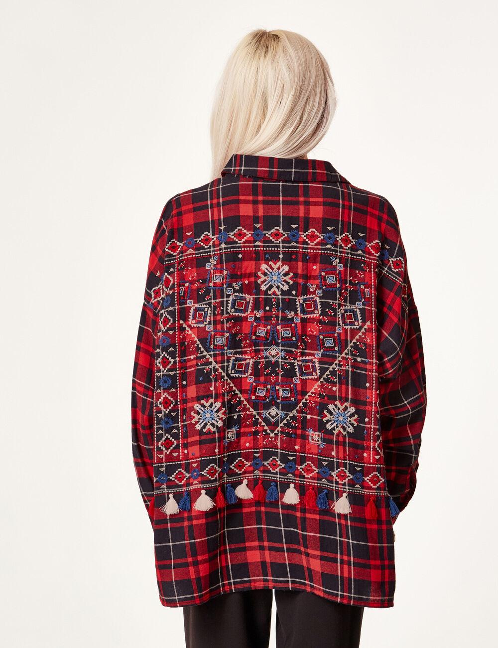 chemise avec broderies rouge et noire femme jennyfer. Black Bedroom Furniture Sets. Home Design Ideas