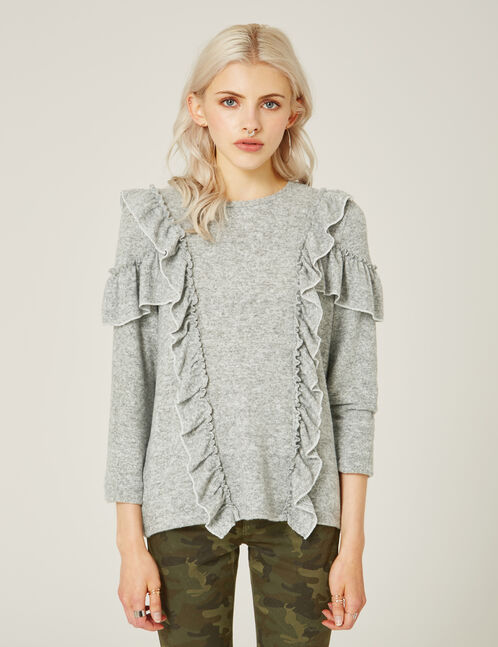 Grey marl T-shirt with frill detail