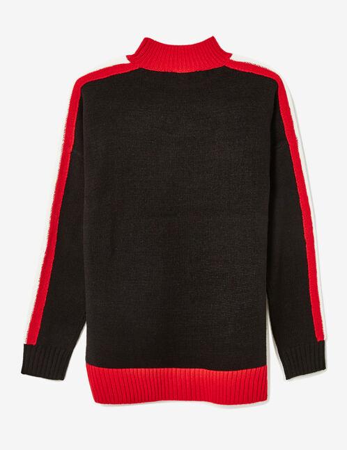 "Black, red and cream tricolour ""W.London"" jumper"