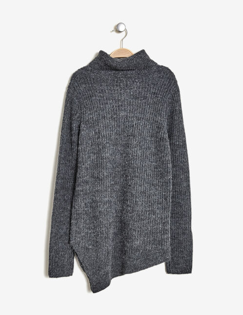Charcoal grey asymmetric jumper with slit detail
