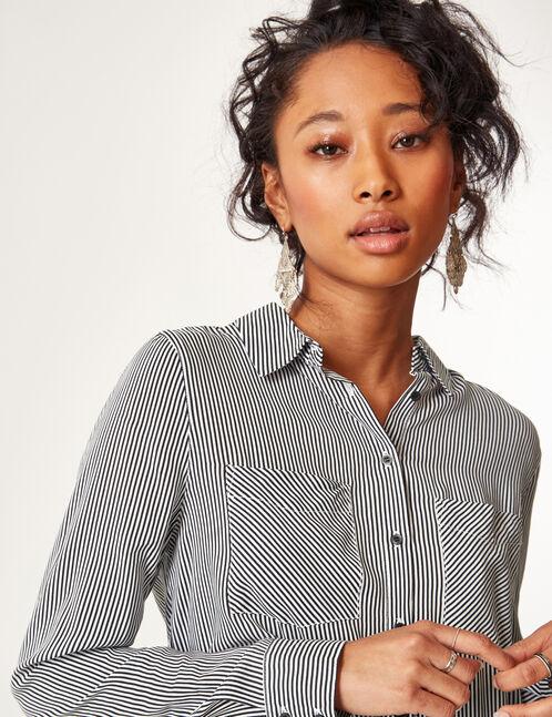 chemise rayée noire et blanche