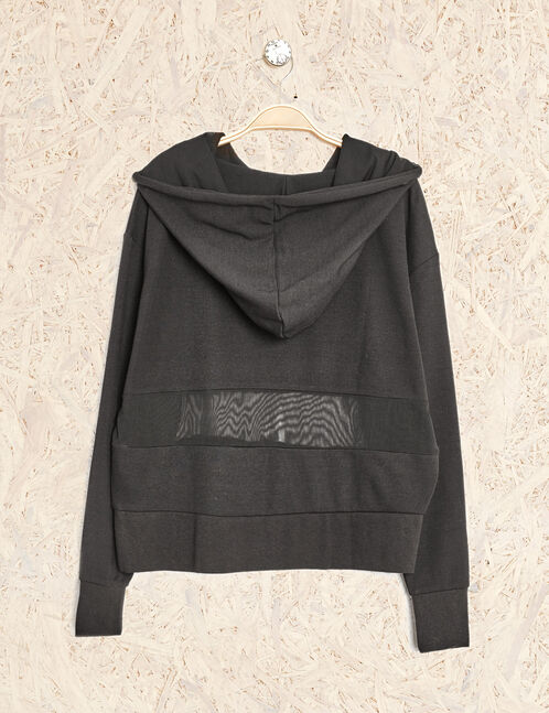 Black mixed fabric fitness sweatshirt