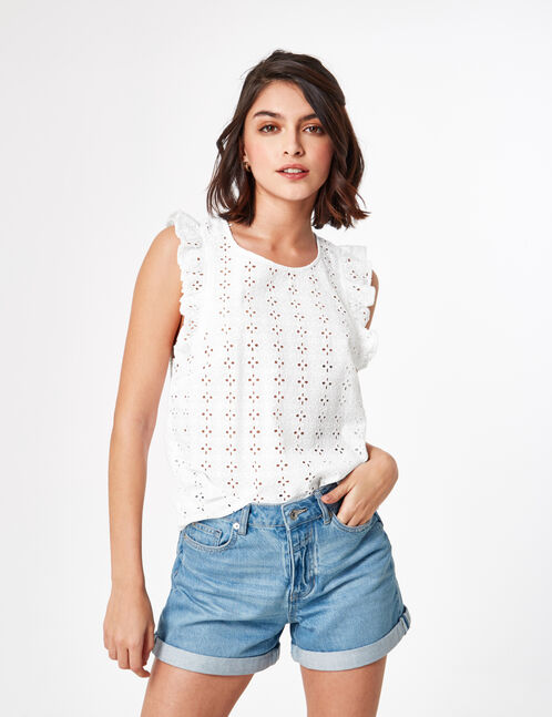 Cream blouse with English embroidery