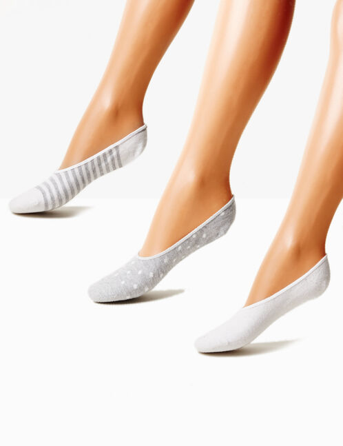 chaussettes invisibles grises et blanches