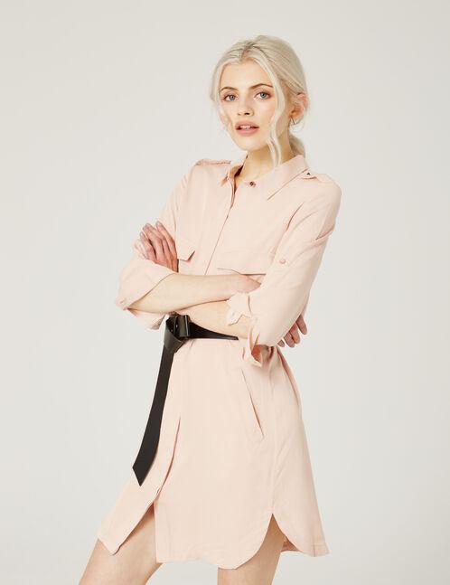 Light pink shirt dress