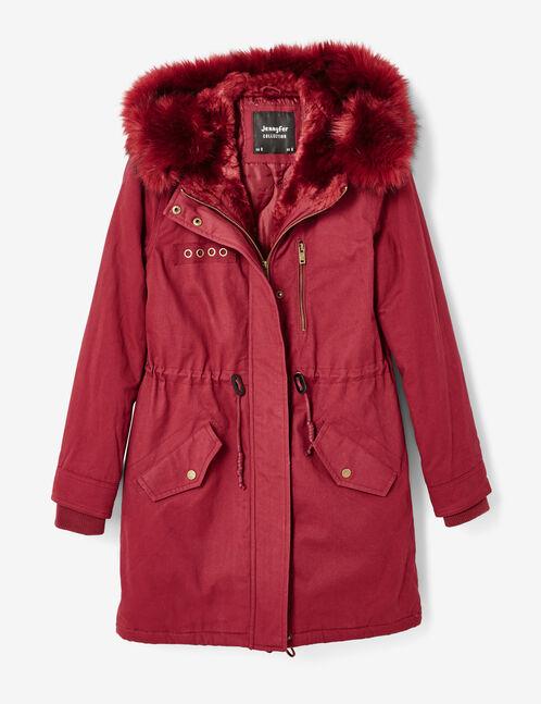 Long burgundy hooded parka