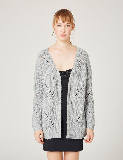 Grey marl openwork knit cardigan