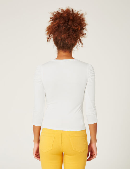 Cream ruched sleeve top