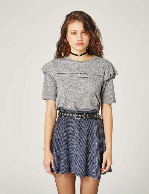 tee-shirt à message gris chiné