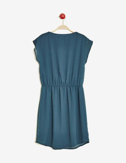Emerald green draped zipped dress