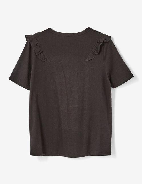 Black mixed fabric T-shirt