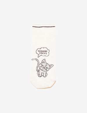 chaussettes chats beige