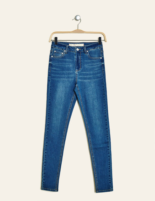 Dark blue high-waisted super skinny jeans