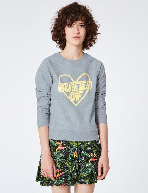 """Grey marl """"Queen of Hearts"""" sweatshirt"""