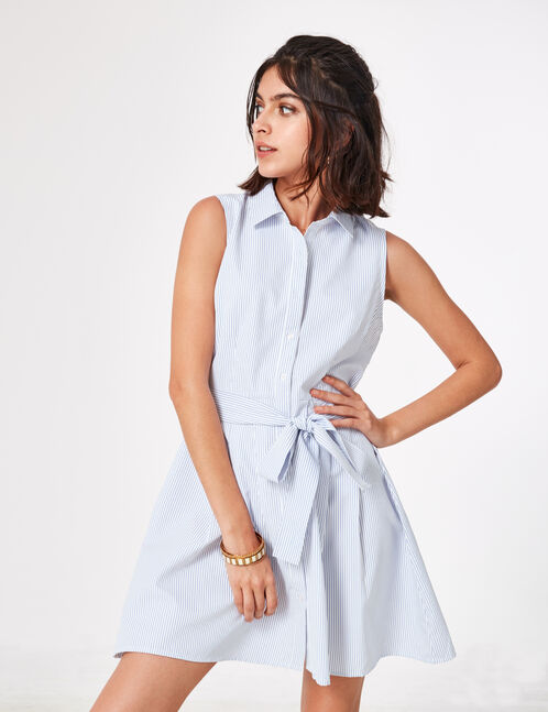 Cream and blue striped shirt dress