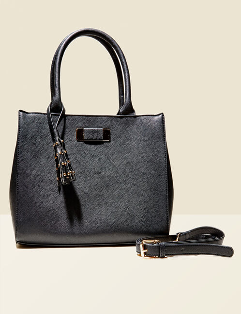 Black handbag with tassel and stud details