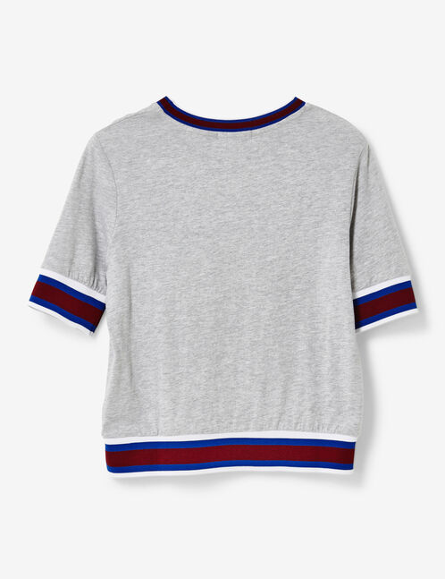 Grey marl T-shirt with striped trim detail