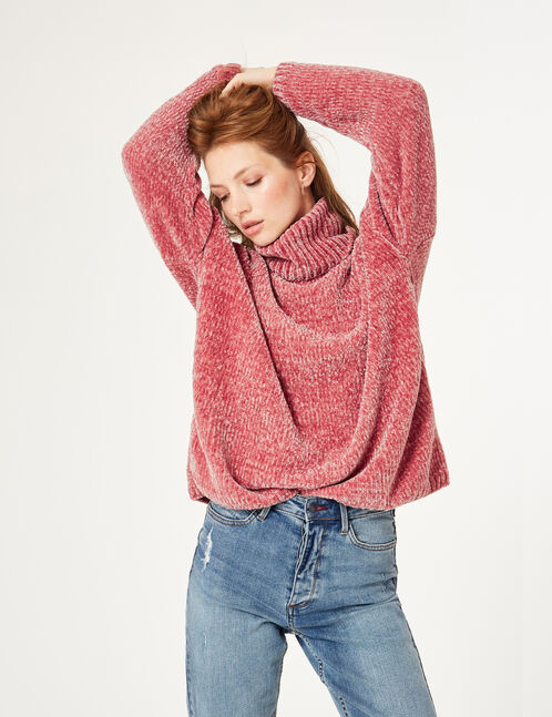Light pink chenille polo neck jumper