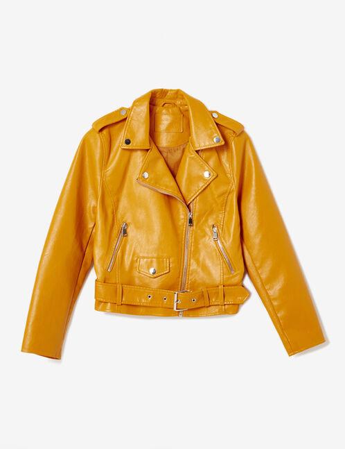 Ochre biker jacket with belt