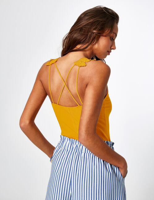 Ochre bodysuit with lace detail and lacing
