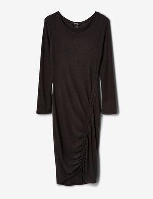 robe côtelée avec fronces noire