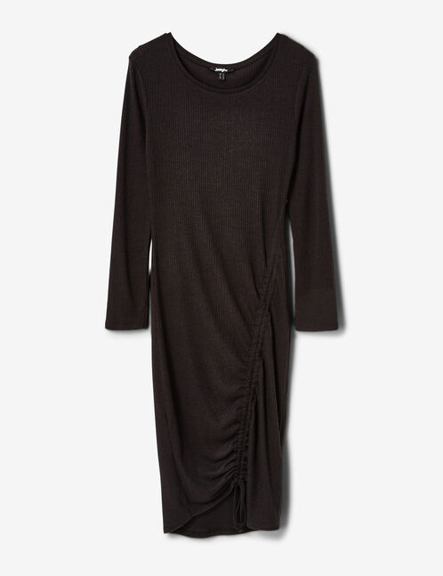 Black ribbed dress with ruched detail