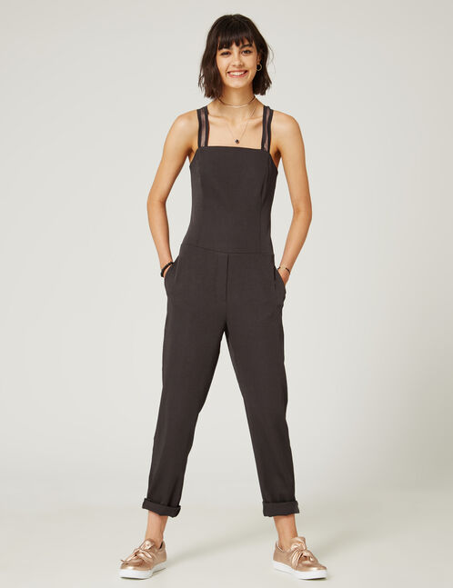 Black jumpsuit with mesh detail