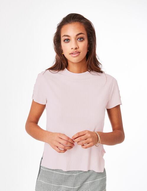 tee-shirt avec anneaux rose clair