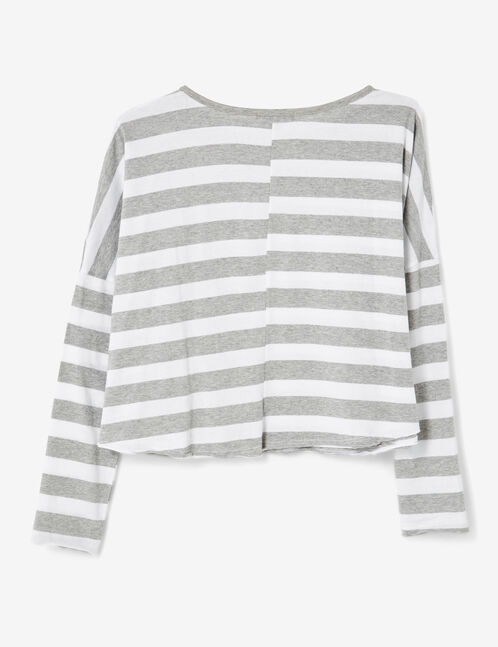Grey marl and white striped crop top