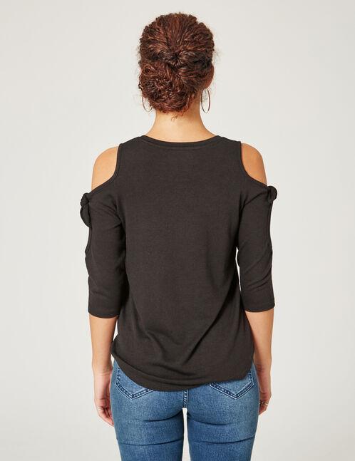 Black cold shoulder T-shirt