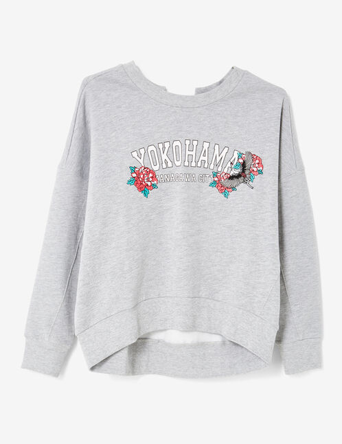 Grey marl sweatshirt with back lacing detail