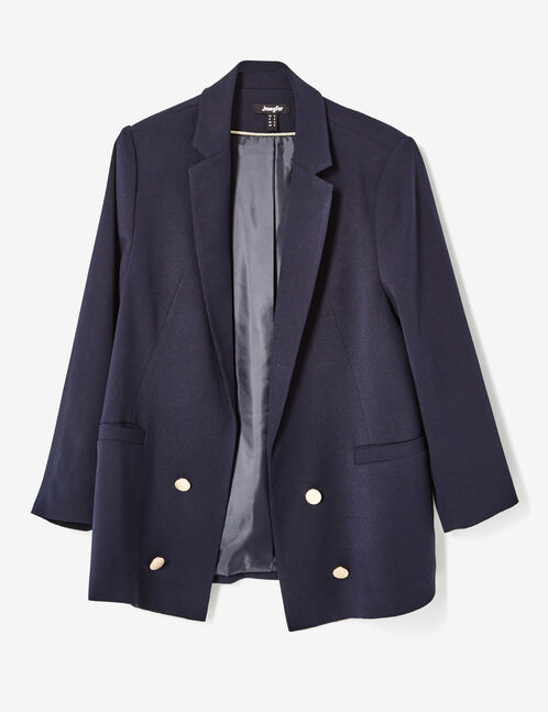 Long navy blue blazer with button detail