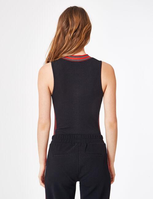 body côtelé zippé noir