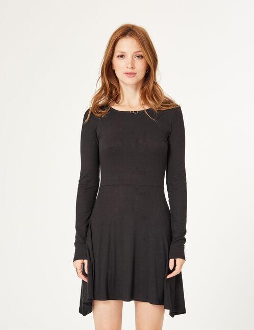 robe côtelée évasée noire